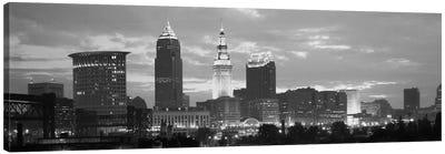 Cleveland Panoramic Skyline Cityscape (Black & White - Dusk) Canvas Print #6168