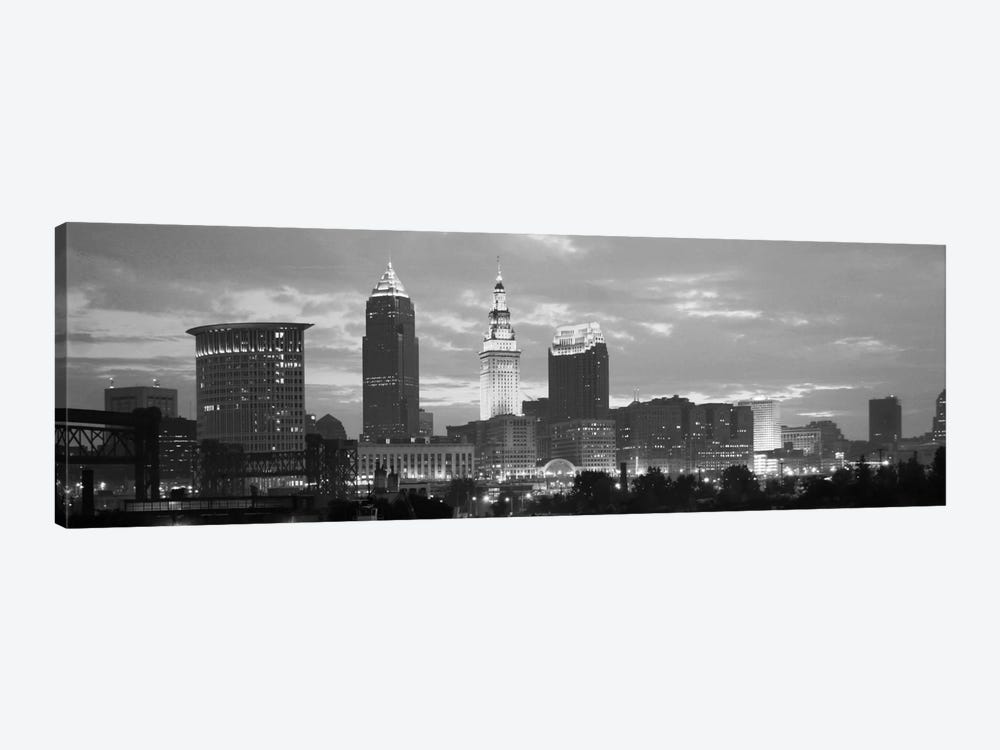 Cleveland Panoramic Skyline Cityscape (Black & White - Dusk) by Unknown Artist 1-piece Canvas Art Print