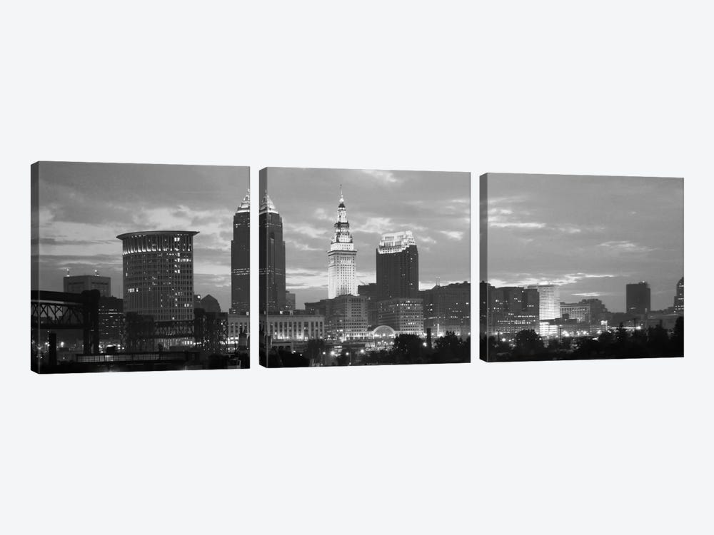 Cleveland Panoramic Skyline Cityscape (Black & White - Dusk) by Unknown Artist 3-piece Art Print