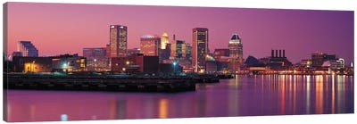 Baltimore Panoramic Skyline Cityscape (Evening) Canvas Art Print