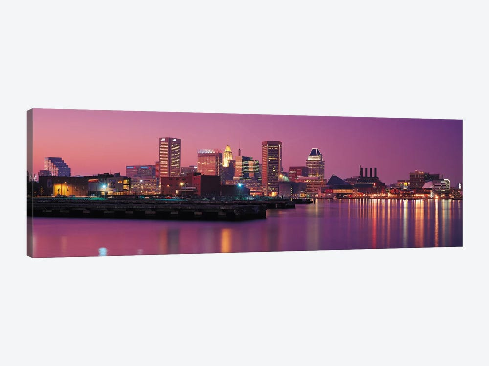 Baltimore Panoramic Skyline Cityscape (Evening) 1-piece Canvas Artwork