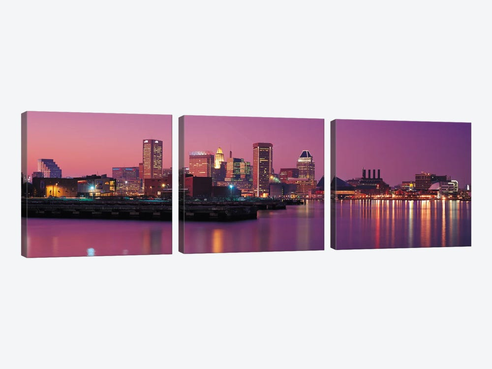 Baltimore Panoramic Skyline Cityscape (Evening) 3-piece Canvas Art