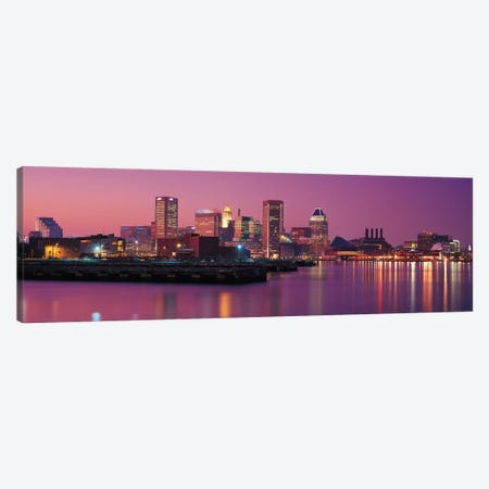 Baltimore Panoramic Skyline Cityscape (Evening) Canvas Print #6169} by Unknown Artist Canvas Wall Art
