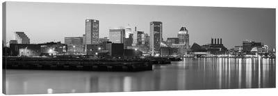 Baltimore Panoramic Skyline Cityscape (Black & White - Evening) Canvas Art Print
