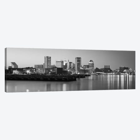 Baltimore Panoramic Skyline Cityscape (Black & White - Evening) Canvas Print #6170} Art Print