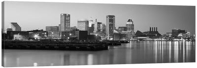 Baltimore Panoramic Skyline Cityscape (Black & White - Evening) Canvas Art Print