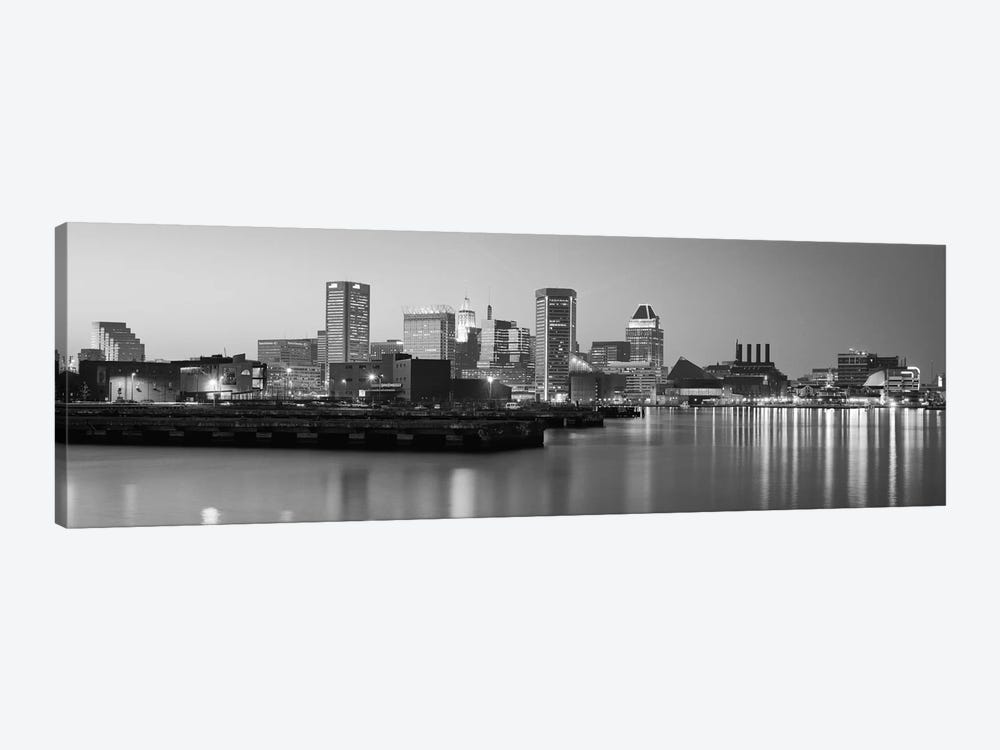Baltimore Panoramic Skyline Cityscape (Black & White - Evening) by Unknown Artist 1-piece Canvas Wall Art