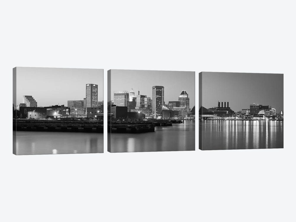 Baltimore Panoramic Skyline Cityscape (Black & White - Evening) by Unknown Artist 3-piece Canvas Wall Art