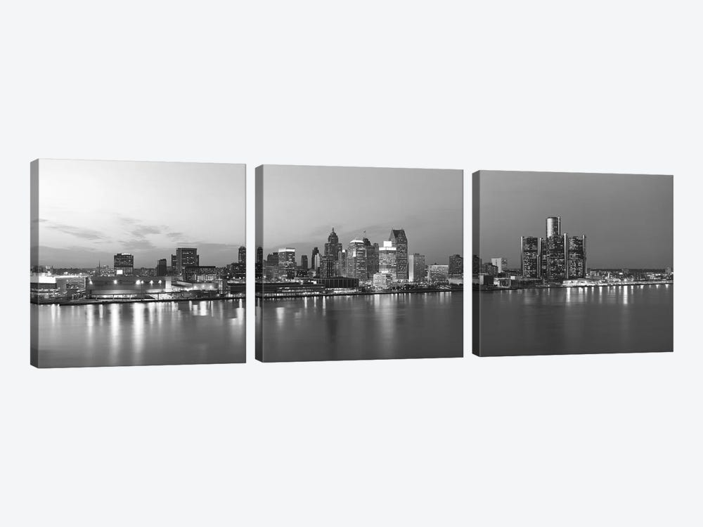 Detroit Panoramic Skyline Cityscape (Black & White - Evening) by Unknown Artist 3-piece Canvas Print