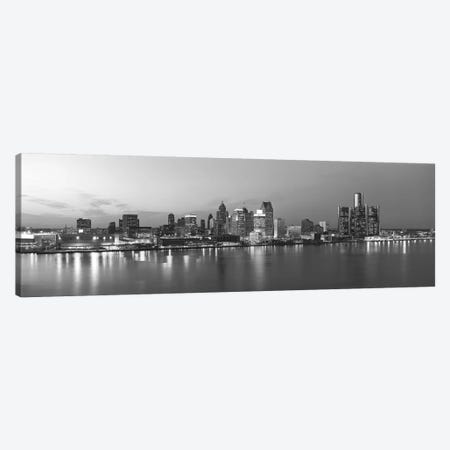 Detroit Panoramic Skyline Cityscape (Black & White - Evening) 3-Piece Canvas #6171} by Unknown Artist Canvas Art Print