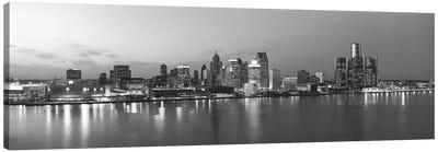 Detroit Panoramic Skyline Cityscape (Black & White - Evening) Canvas Art Print