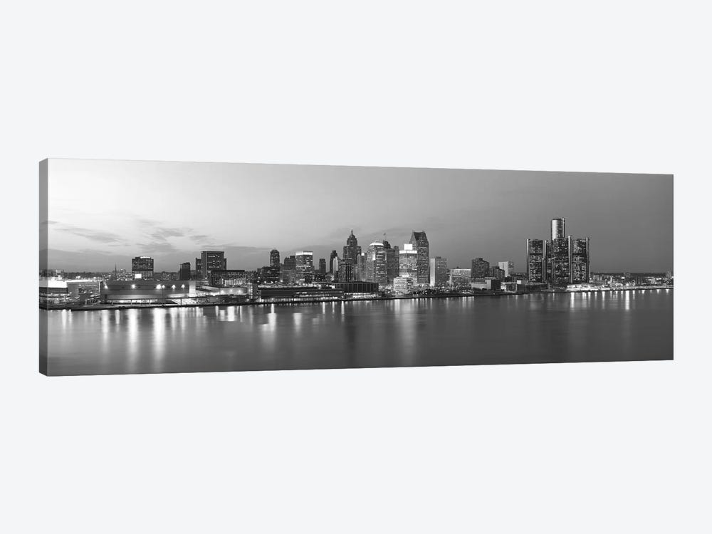 Detroit Panoramic Skyline Cityscape (Black & White - Evening) by Unknown Artist 1-piece Canvas Print