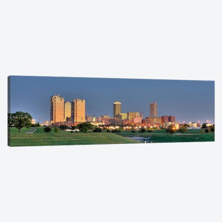Fort Worth Panoramic Skyline Cityscape (Evening) Canvas Print #6172} Art Print