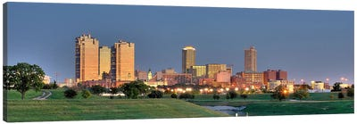 Fort Worth Panoramic Skyline Cityscape (Evening) Canvas Print #6172