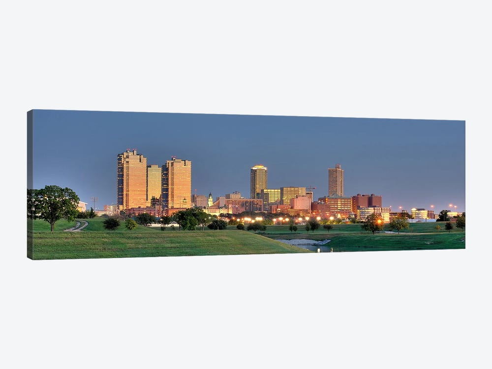 Fort Worth Panoramic Skyline Cityscape (Evening) 1-piece Canvas Art