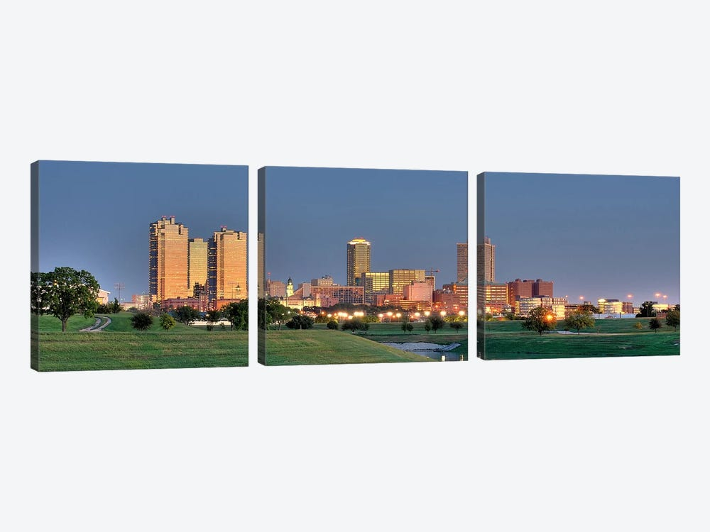 Fort Worth Panoramic Skyline Cityscape (Evening) 3-piece Canvas Art