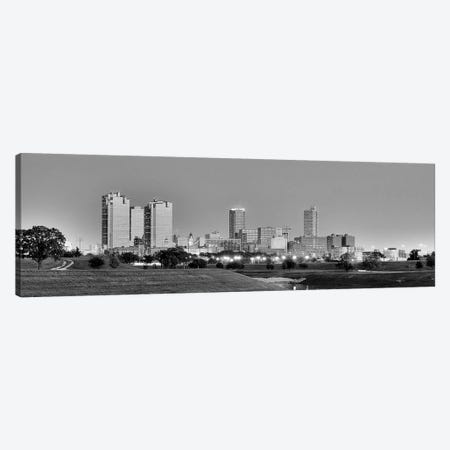 Fort Worth Panoramic Skyline Cityscape (Black & White - Evening) Canvas Print #6173} by Unknown Artist Art Print