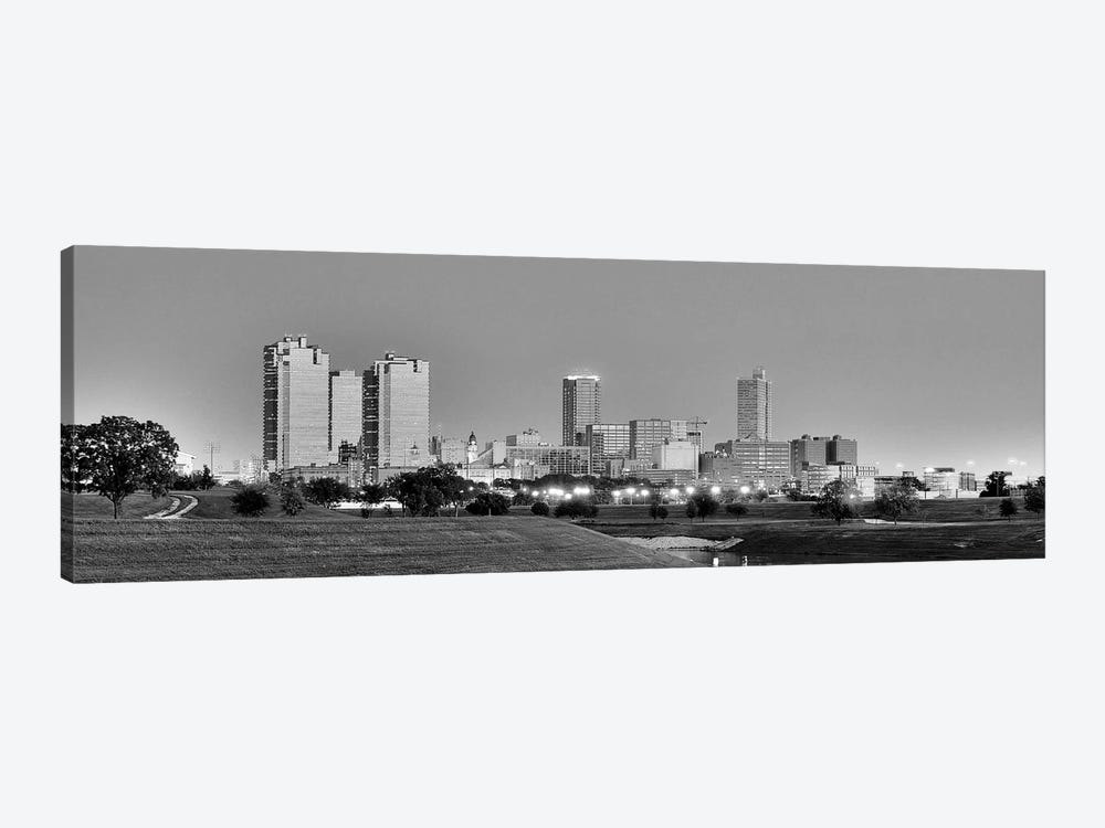 Fort Worth Panoramic Skyline Cityscape (Black & White - Evening) 1-piece Art Print