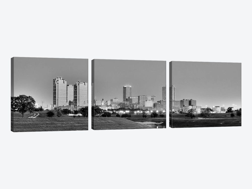 Fort Worth Panoramic Skyline Cityscape (Black & White - Evening) 3-piece Art Print
