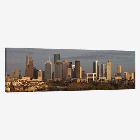 Houston Panoramic Skyline Cityscape (Evening) Canvas Print #6174} Canvas Wall Art