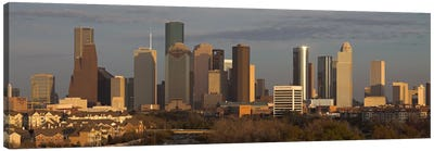 Houston Panoramic Skyline Cityscape (Evening) Canvas Art Print