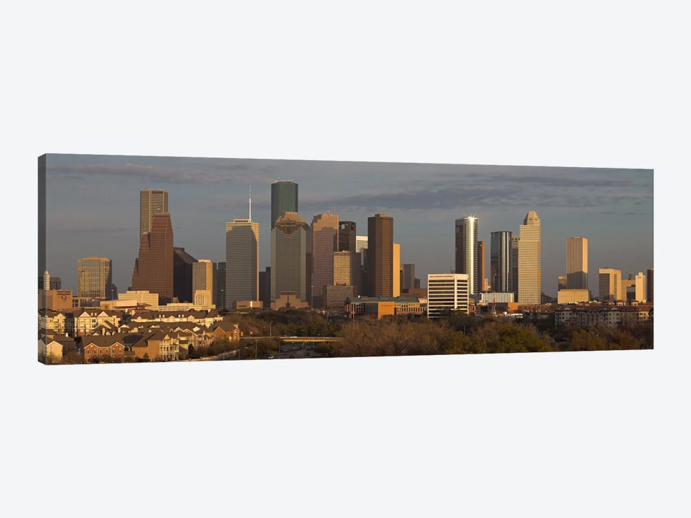 Houston Panoramic Skyline Cityscape (Evening) by Unknown Artist 1-piece Canvas Artwork