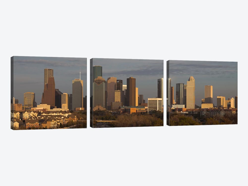 Houston Panoramic Skyline Cityscape (Evening) by Unknown Artist 3-piece Canvas Wall Art