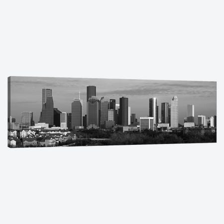 Houston Skyline Cityscape (Black & White - Evening) Canvas Print #6175} by Unknown Artist Canvas Art