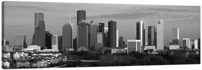Houston Skyline Cityscape (Black & White - Evening) Canvas Art Print