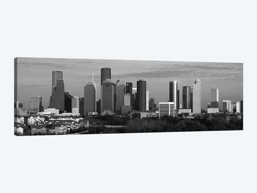 Houston Skyline Cityscape (Black & White - Evening) by Unknown Artist 1-piece Canvas Print