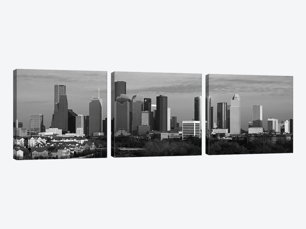 Houston Skyline Cityscape (Black & White - Evening) by Unknown Artist 3-piece Art Print