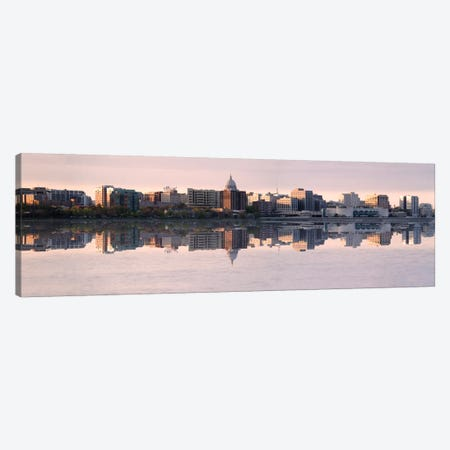 Madison Panoramic Skyline Cityscape (Evening) Canvas Print #6176} Canvas Wall Art