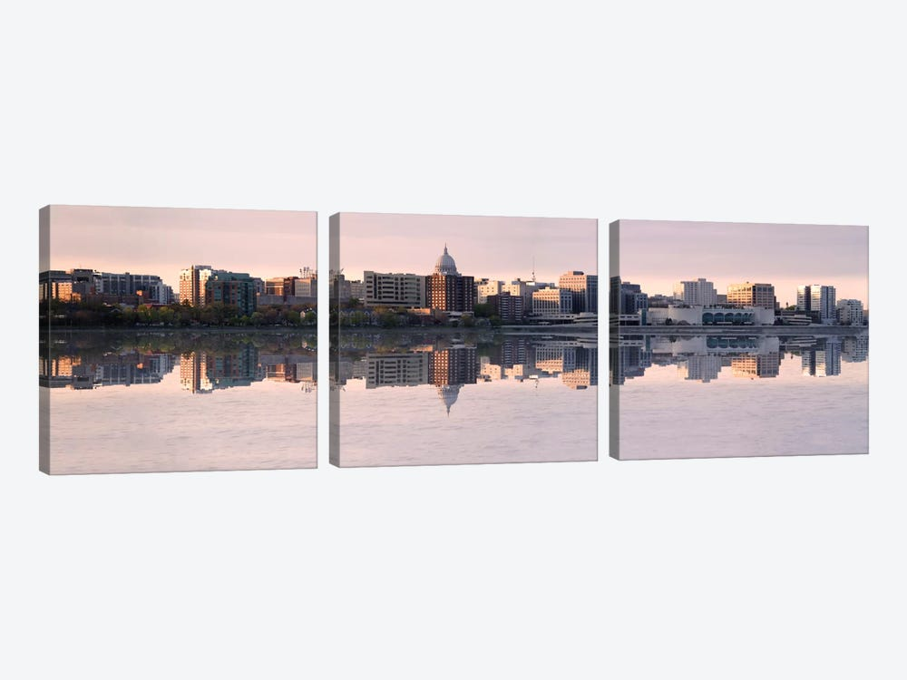 Madison Panoramic Skyline Cityscape (Evening) 3-piece Canvas Artwork