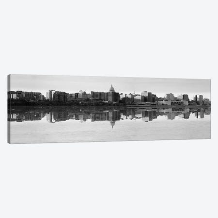 Madison Panoramic Skyline Cityscape (Black& White - Evening) Canvas Print #6177} Canvas Art