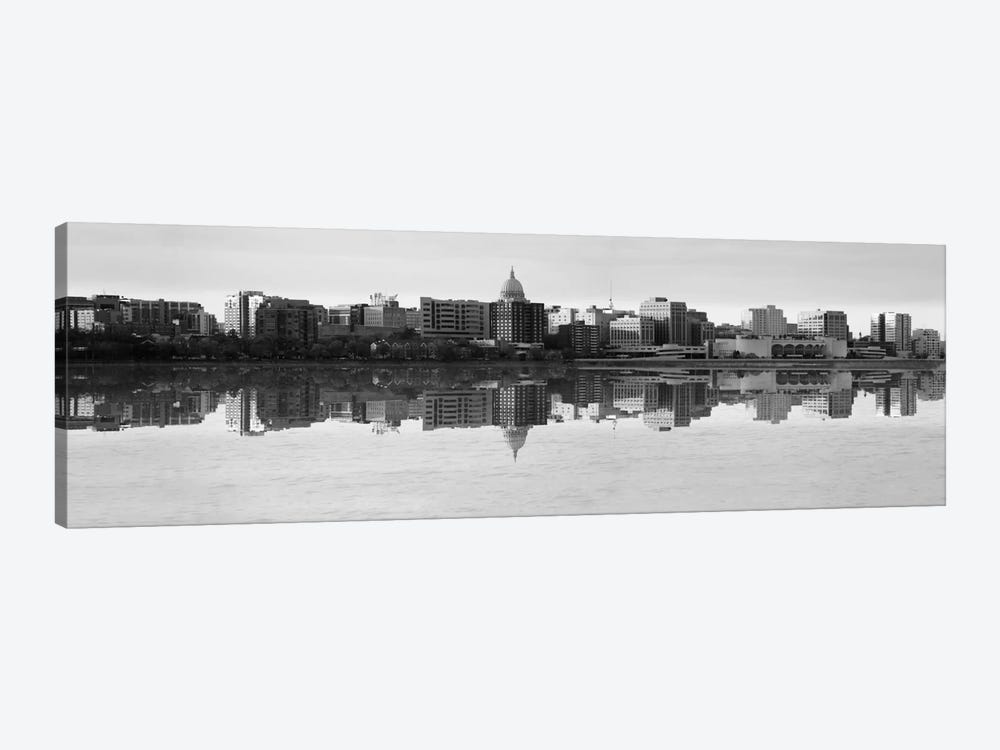 Madison Panoramic Skyline Cityscape (Black& White - Evening) 1-piece Art Print