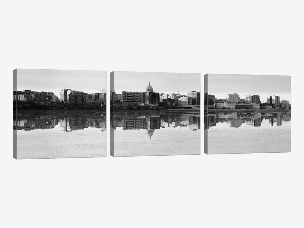 Madison Panoramic Skyline Cityscape (Black& White - Evening) 3-piece Art Print