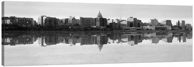 Madison Panoramic Skyline Cityscape (Black& White - Evening) Canvas Art Print