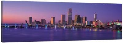 Miami Panoramic Skyline Cityscape (Evening) Canvas Art Print