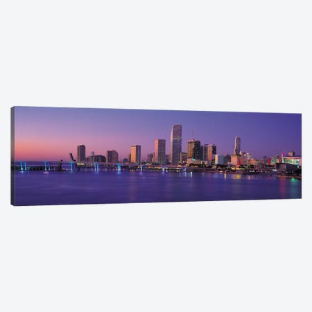 Miami Panoramic Skyline Cityscape (Evening) Canvas Print #6178} Canvas Art Print
