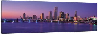 Miami Panoramic Skyline Cityscape (Evening) Canvas Print #6178