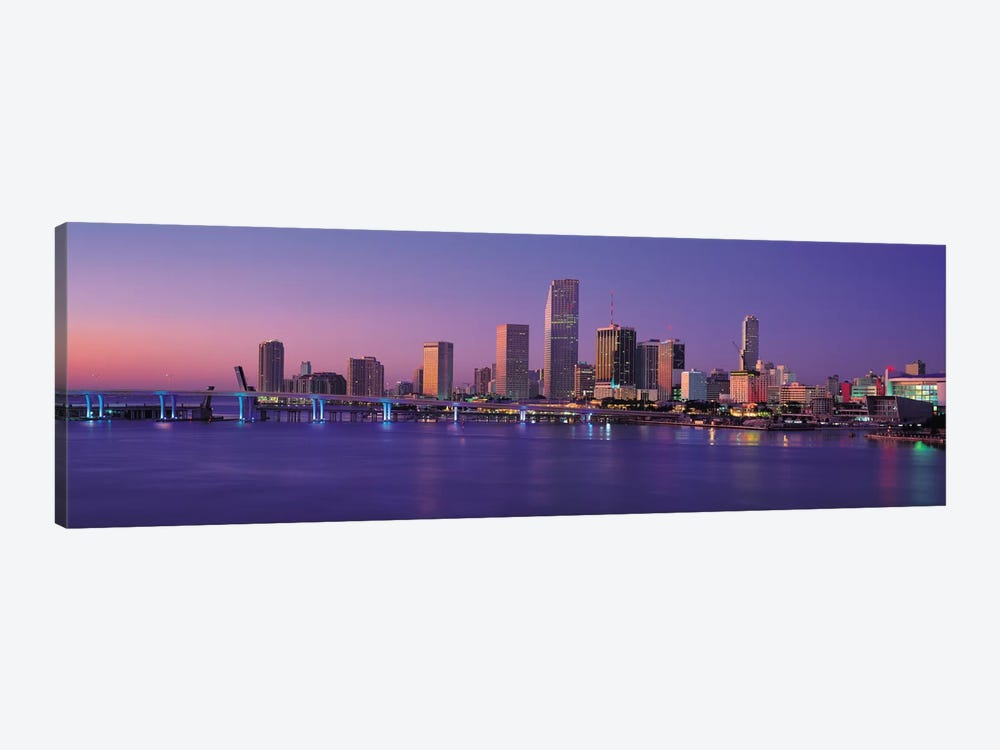 Miami Panoramic Skyline Cityscape (Evening) 1-piece Canvas Wall Art