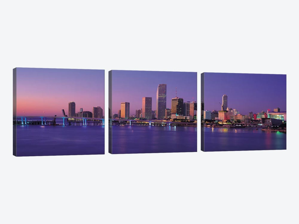 Miami Panoramic Skyline Cityscape (Evening) by Unknown Artist 3-piece Canvas Artwork