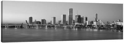 Miami Panoramic Skyline Cityscape (Black & White - Evening) Canvas Art Print