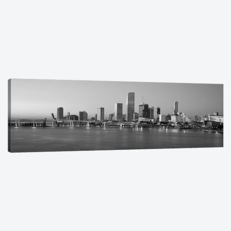 Miami Panoramic Skyline Cityscape (Black & White - Evening) Canvas Print #6179} Canvas Print