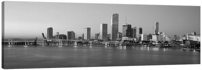 Miami Panoramic Skyline Cityscape (Black & White - Evening) Canvas Art Print