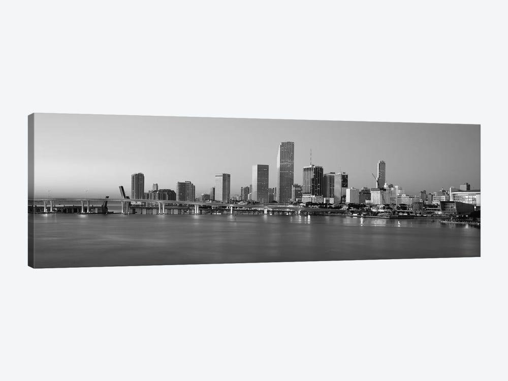 Miami Panoramic Skyline Cityscape (Black & White - Evening) by Unknown Artist 1-piece Art Print