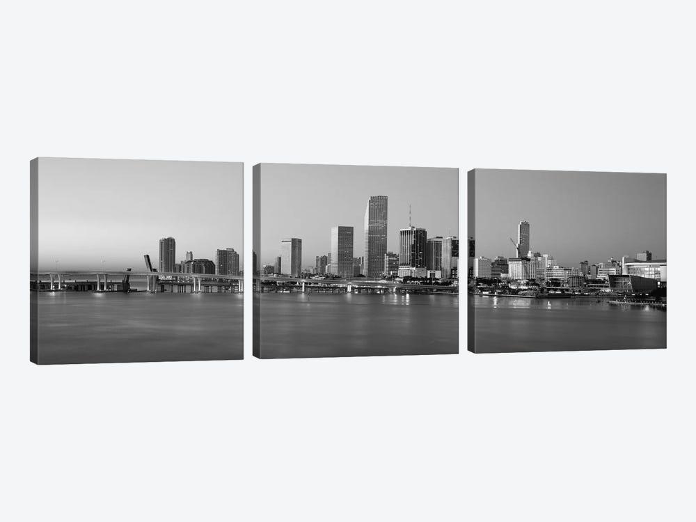 Miami Panoramic Skyline Cityscape (Black & White - Evening) by Unknown Artist 3-piece Art Print