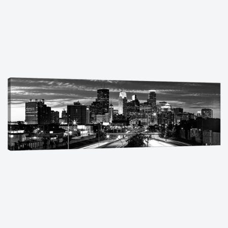 Minneapolis Panoramic Skyline Cityscape (Black & White - Evening) Canvas Print #6181} Canvas Artwork