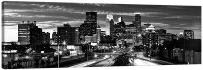 Minneapolis Panoramic Skyline Cityscape (Black & White - Evening) Canvas Print #6181