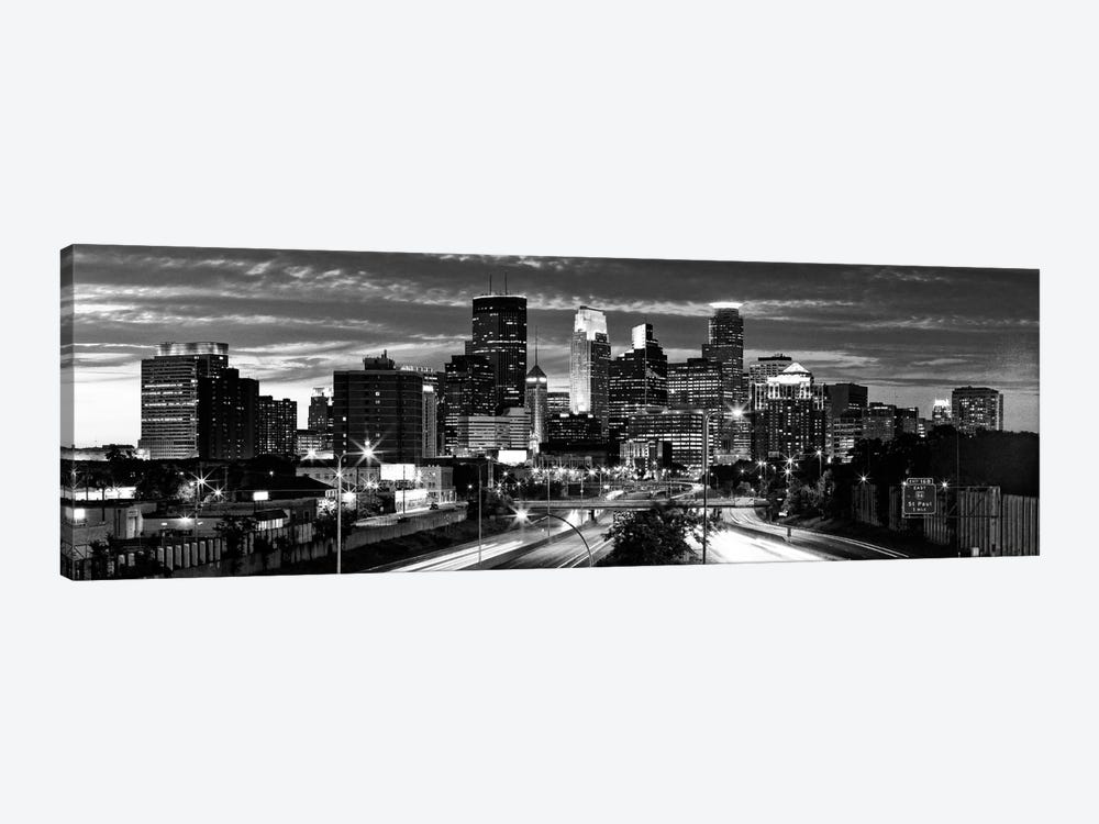 Minneapolis Panoramic Skyline Cityscape (Black & White - Evening) 1-piece Canvas Wall Art